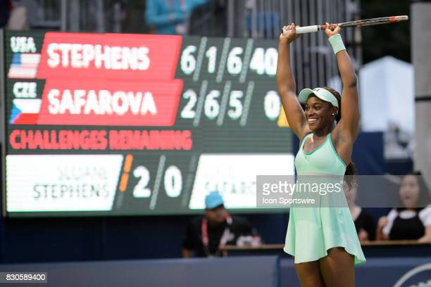 Sloane Stephens of the United States reacts after winning her quarterfinals match of the 2017 Rogers Cup tennis tournament on August 11 2017 at Aviva...