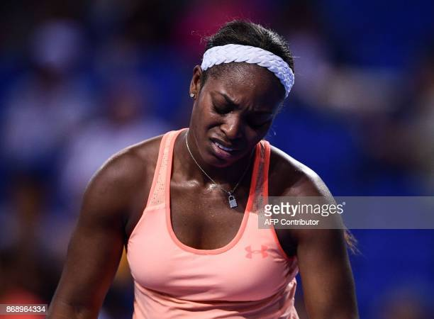 Sloane Stephens of the United States reacts during her women's singles match against Anastasija Sevastova of Latvia at the Zhuhai Elite Trophy tennis...