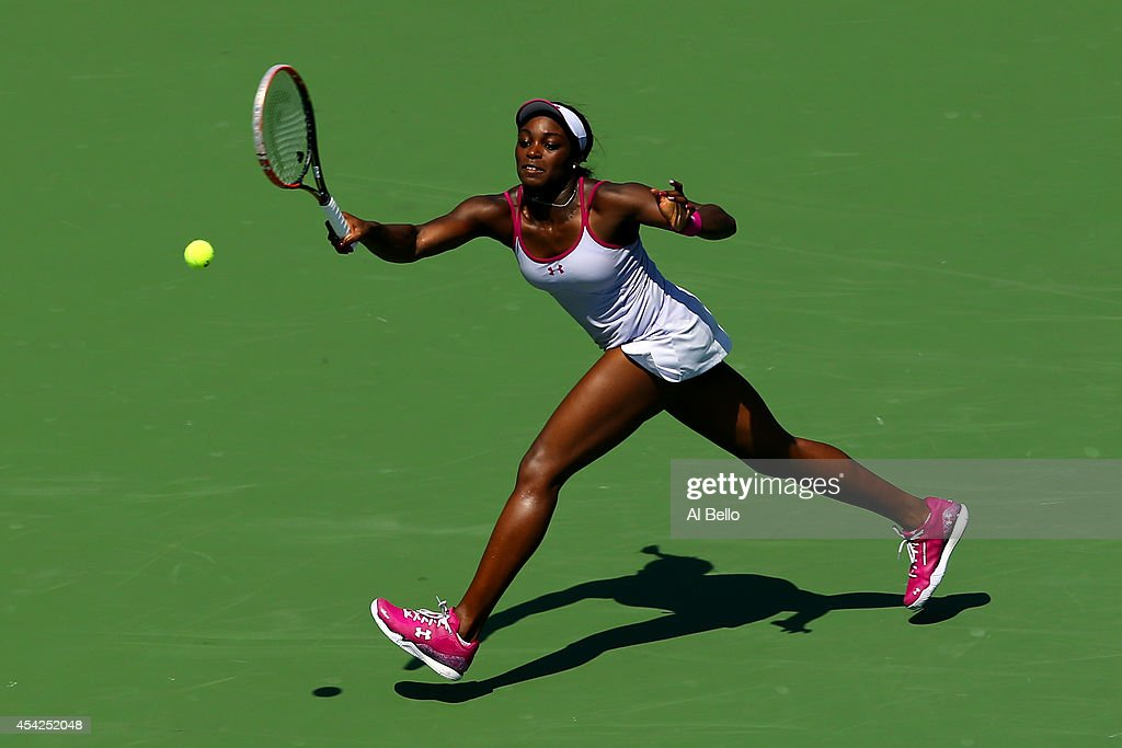 Sloane Stephens of the United States return a shot against Johanna Larsson of Sweden during her women's singles second round match on Day Three of the 2014 US Open at the USTA Billie Jean King National Tennis Center on August 27, 2014 in the Flushing neighborhood of the Queens borough of New York City.