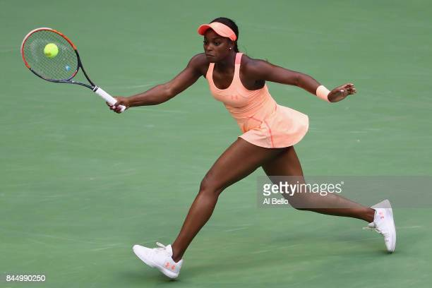 Sloane Stephens of the United States returns a shot against Madison Keys of the United States during their Women's Singles finals match on Day...
