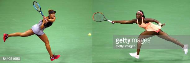 FILE PHOTO Image Numbers 843926780 and 843912688 In this composite image a comparison has been made between 2017 US Open Women's Finalists Madison...