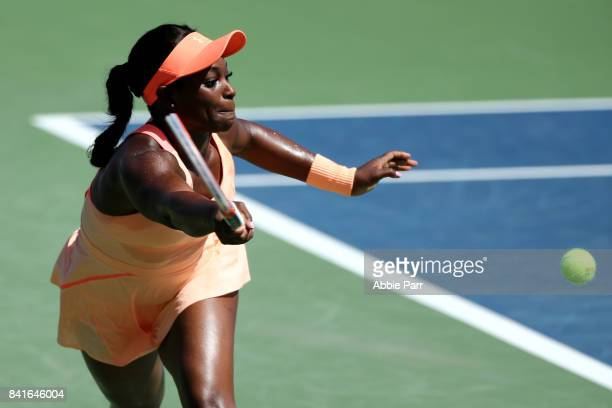 Sloane Stephens of the United States returns a shot during her third round match against Ashleigh Barty of Australia on Day Five of the 2017 US Open...