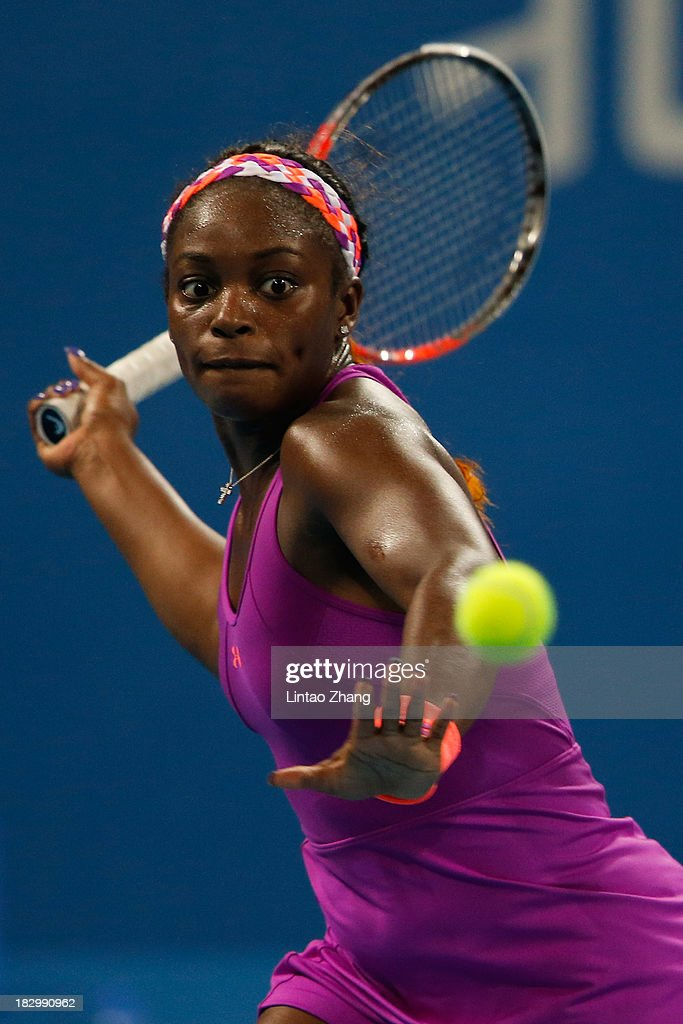<a gi-track='captionPersonalityLinkClicked' href=/galleries/search?phrase=Sloane+Stephens&family=editorial&specificpeople=5510187 ng-click='$event.stopPropagation()'>Sloane Stephens</a> of the United States returns a shot to Caroline Wozniacki of Denmark during day six of the 2013 China Open at the National Tennis Center on October 3, 2013 in Beijing, China.