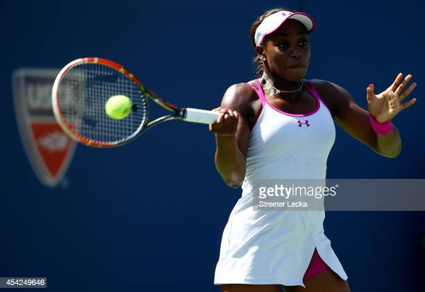 Sloane Stephens of the United States returns a shot to Johanna Larsson of Sweden during her women's singles second round match on Day Three of the...