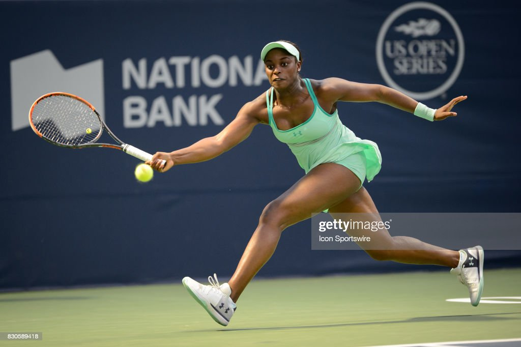 Sloane Stephens of the United States (USA) returns the ball during her quarter-finals match of the 2017 Rogers Cup tennis tournament on August 11, 2017 at Aviva Centre in Toronto, ON, Canada.