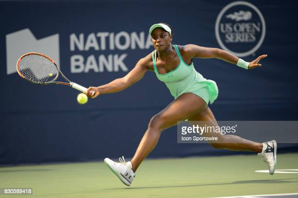 Sloane Stephens of the United States returns the ball during her quarterfinals match of the 2017 Rogers Cup tennis tournament on August 11 2017 at...