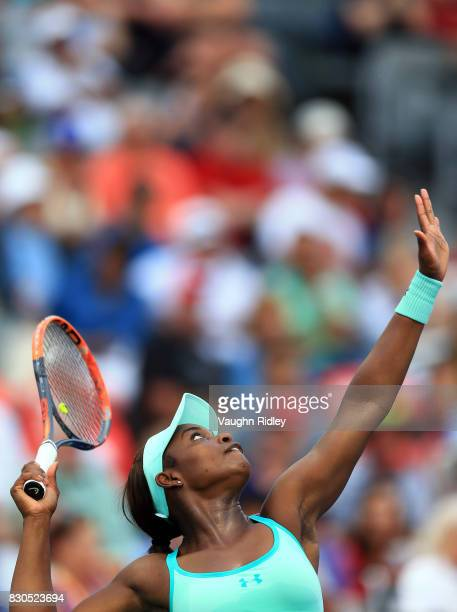 Sloane Stephens of the United States serves against Lucie Safarova of Czech Republic during Day 7 of the Rogers Cup at Aviva Centre on August 11 2017...