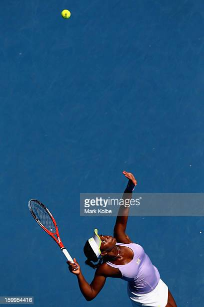 Sloane Stephens of the United States serves in her Semifinal match against Victoria Azarenka of Belarus during day eleven of the 2013 Australian Open...