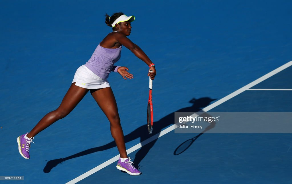 Sloane Stephens of the United States serves in her third round match against Laura Robson of Great Britain during day six of the 2013 Australian Open at Melbourne Park on January 19, 2013 in Melbourne, Australia.
