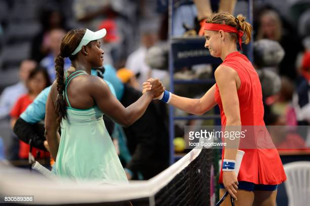Sloane Stephens of the United States shakes hands with Lucie Safarova of Czech Republic reacts after winning her quarterfinals match of the 2017...