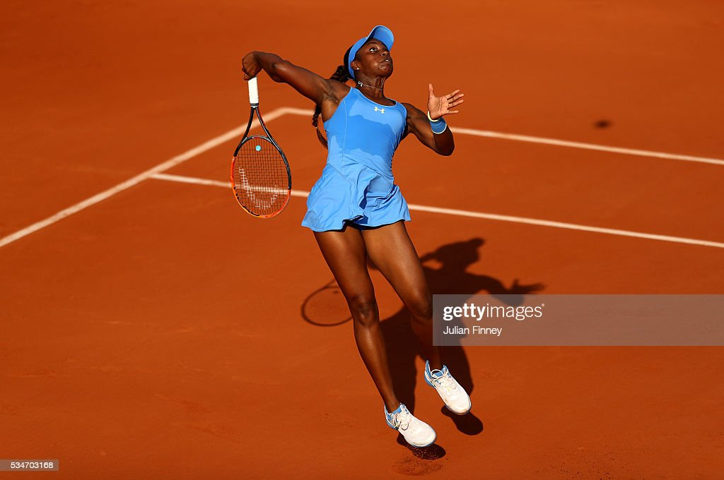 <a gi-track='captionPersonalityLinkClicked' href=/galleries/search?phrase=Sloane+Stephens&family=editorial&specificpeople=5510187 ng-click='$event.stopPropagation()'>Sloane Stephens</a> of the United States smashes during the Ladies Singles third round match against Tsvetana Pironkova of Bulgaria on day six of the 2016 French Open at Roland Garros on May 27, 2016 in Paris, France.