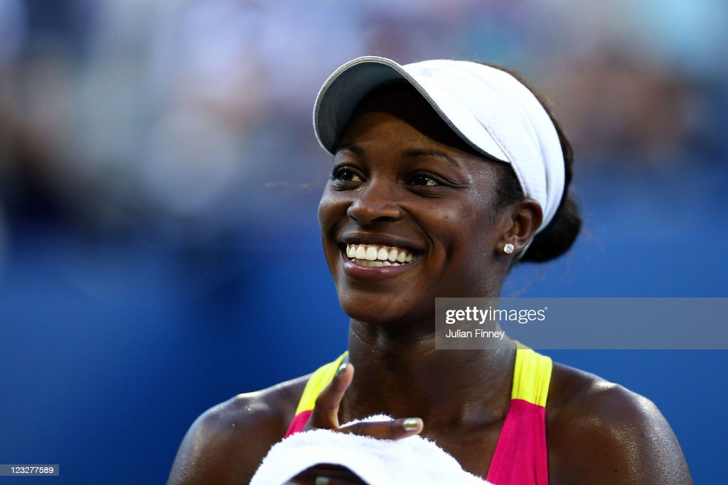 Sloane Stephens of the United States smiles during play against Shahar Peer of Israel during Day Four of the 2011 US Open at the USTA Billie Jean King National Tennis Center on September 1, 2011 in the Flushing neighborhood of the Queens borough of New York City.