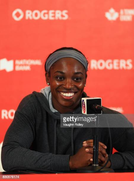 Sloane Stephens of the United States speaks to the media after defeating Lucie Safarova of Czech Republic during Day 7 of the Rogers Cup at Aviva...