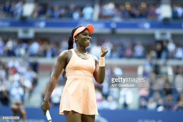 Sloane Stephens of the US celebrates after winning against Madison Keys of the US during their women's finals match during the US Open 2017 at the...