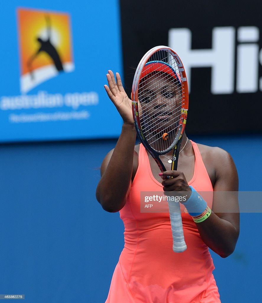Sloane Stephens of the US celebrates her win over Elina Svitolina of Ukraine during their women's singles match on day six of the 2014 Australian Open tennis tournament in Melbourne on January 18, 2014. IMAGE