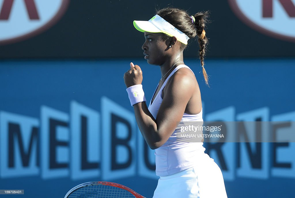 Sloane Stephens of the US gestures during her women's singles match against Britain's Laura Robson on the sixth day of the Australian Open tennis tournament in Melbourne on January 19, 2013. AFP PHOTO/MANAN VATSYAYANA IMAGE STRICTLY RESTRICTED TO EDITORIAL USE - STRICTLY NO COMMERCIAL USE