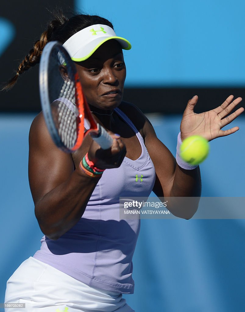 Sloane Stephens of the US plays a return during her women's singles match against Britain's Laura Robson on the sixth day of the Australian Open tennis tournament in Melbourne on January 19, 2013.