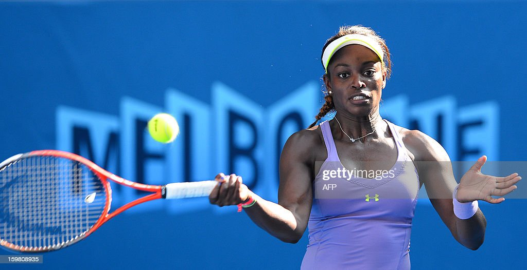 Sloane Stephens of the US plays a return during her women's singles match against Bojana Jovanovski of Serbia on the eighth day of the Australian Open tennis tournament in Melbourne on January 21, 2013.
