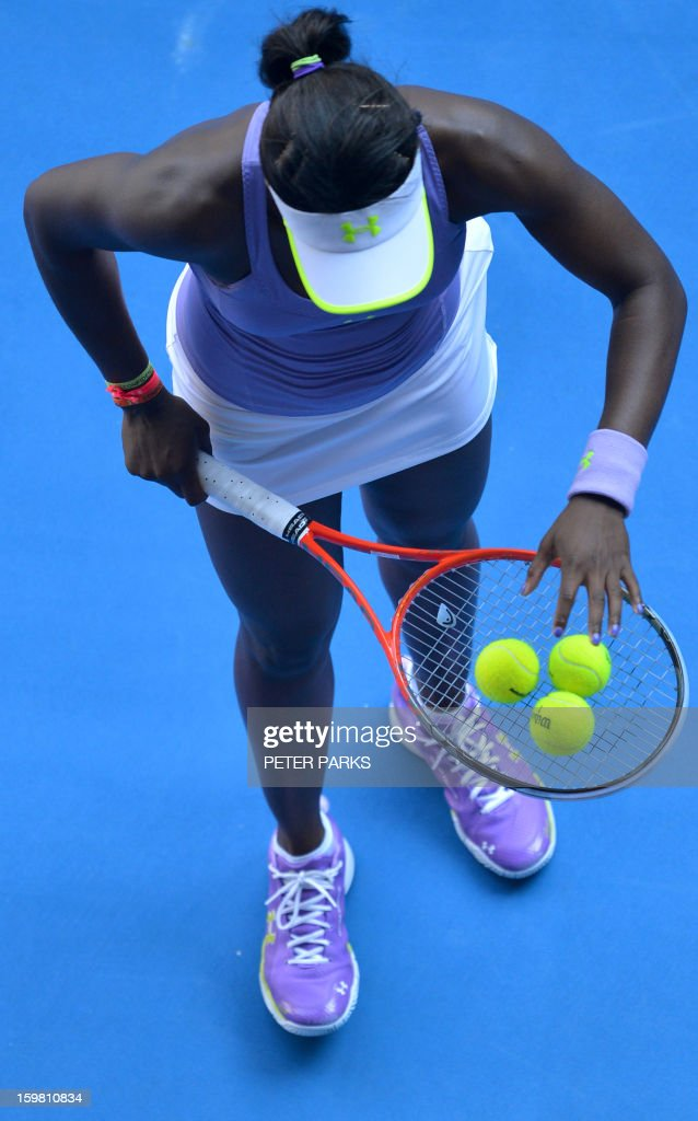 Sloane Stephens of the US prepares to serve during her women's singles match against Bojana Jovanovski of Serbia on the eighth day of the Australian Open tennis tournament in Melbourne on January 21, 2013.