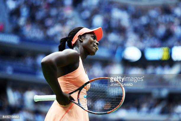 Sloane Stephens of the US reacts after defeating compatriot Madison Keys during their 2017 US Open Women's Singles final match at the USTA Billie...