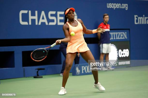 Sloane Stephens of the US returns the ball to compatriot Madison Keys during their 2017 US Open Women's Singles final match at the USTA Billie Jean...
