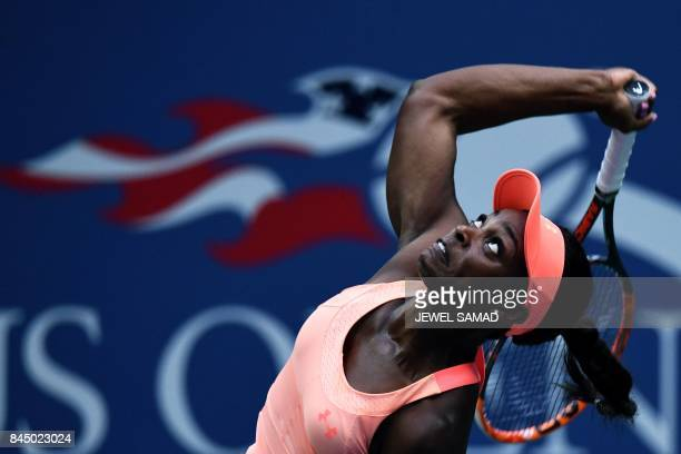 Sloane Stephens of the US serves the ball to compatriot Madison Keys during their 2017 US Open Women's Singles final match at the USTA Billie Jean...