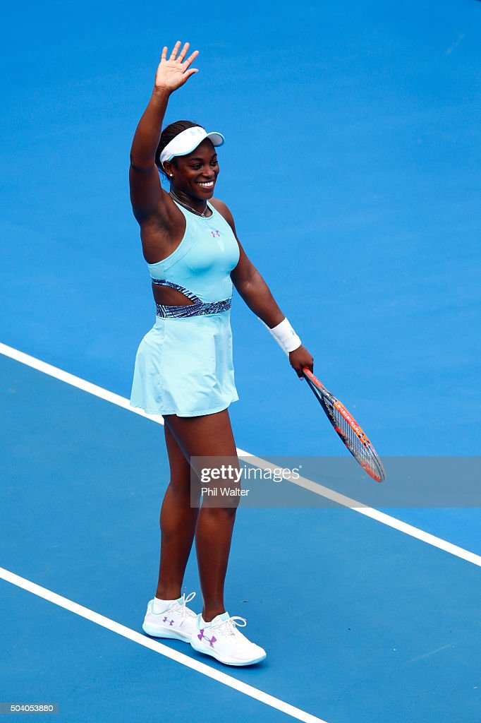Sloane Stephens of the USA celebrates following her semifinal win against Caroline Wozniacki of Denmark during day six of the 2016 ASB Classic at the ASB Tennis Arena on January 9, 2016 in Auckland, New Zealand.