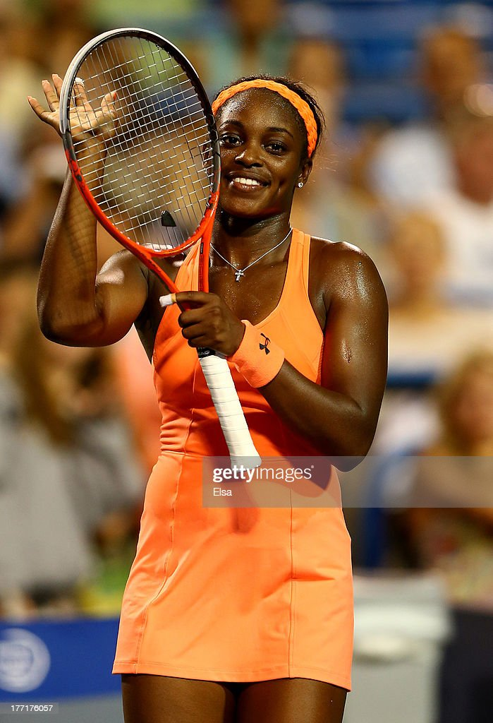 <a gi-track='captionPersonalityLinkClicked' href=/galleries/search?phrase=Sloane+Stephens&family=editorial&specificpeople=5510187 ng-click='$event.stopPropagation()'>Sloane Stephens</a> of the USA celebrates her match win over Julia Goerges of Germany during Day Four of the New Haven Open at Connecticut Tennis Center at Yale on August 21, 2013 in New Haven, Connecticut.