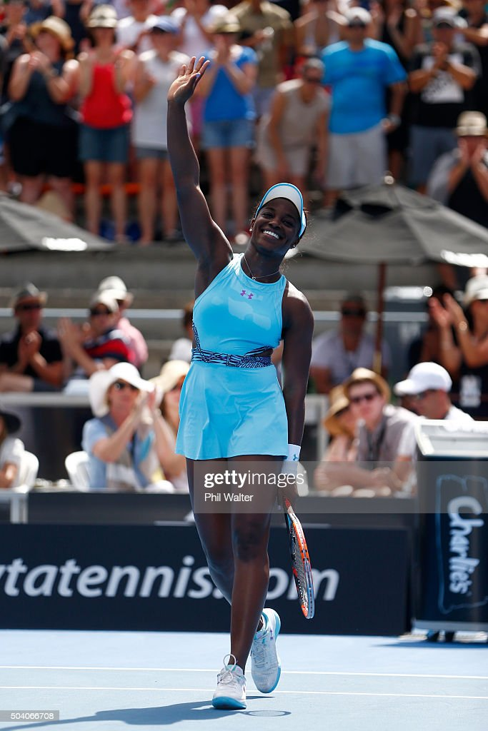 <a gi-track='captionPersonalityLinkClicked' href=/galleries/search?phrase=Sloane+Stephens&family=editorial&specificpeople=5510187 ng-click='$event.stopPropagation()'>Sloane Stephens</a> of the USA celebrates winning her singles final match against Julia Joerges of Germany during day six of the 2016 ASB Classic at the ASB Tennis Arena on January 9, 2016 in Auckland, New Zealand.