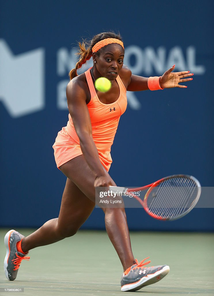 <a gi-track='captionPersonalityLinkClicked' href=/galleries/search?phrase=Sloane+Stephens&family=editorial&specificpeople=5510187 ng-click='$event.stopPropagation()'>Sloane Stephens</a> of the USA hits a return during her match against Kristina Mladenovic of France on day 1 of the Rogers Cup Toronto at Rexall Centre at York University on August 5, 2013 in Toronto, Canada.