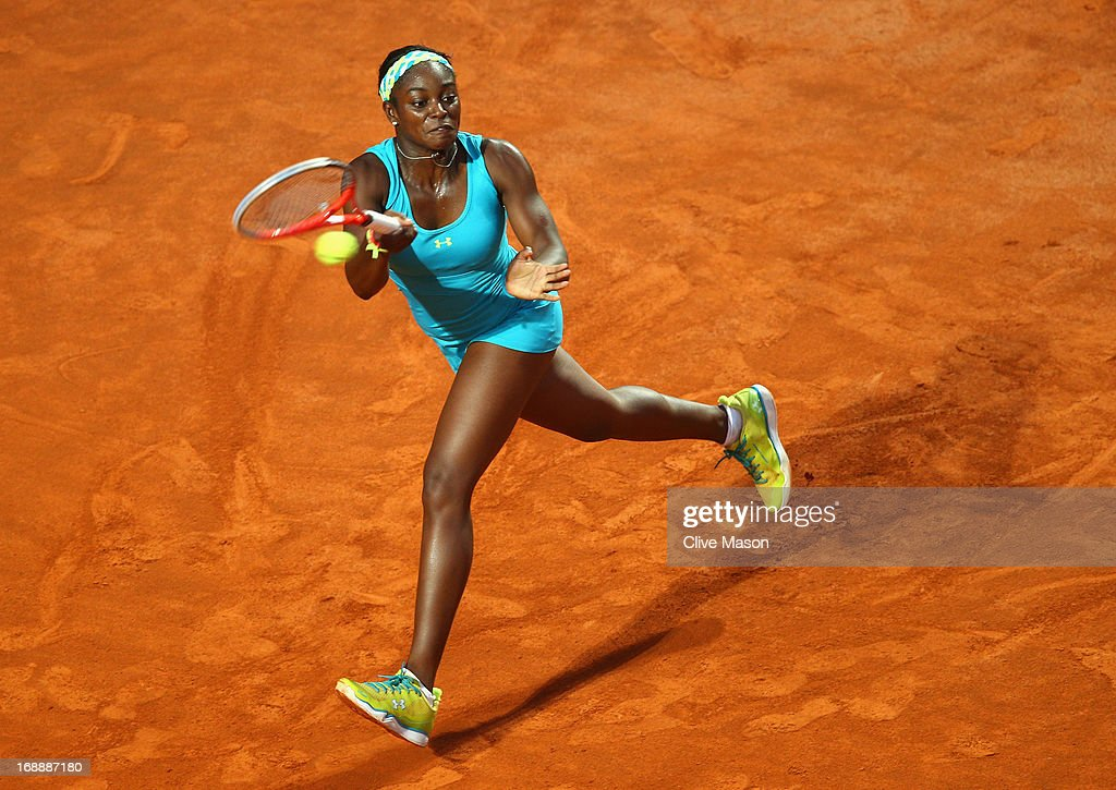 <a gi-track='captionPersonalityLinkClicked' href=/galleries/search?phrase=Sloane+Stephens&family=editorial&specificpeople=5510187 ng-click='$event.stopPropagation()'>Sloane Stephens</a> of the USA in action during her third round match against Maria Sharapova of Russia on day five of the Internazionali BNL d'Italia 2013 at the Foro Italico Tennis Centre on May 16, 2013 in Rome, Italy.