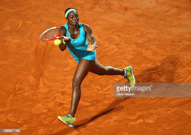 Sloane Stephens of the USA in action during her third round match against Maria Sharapova of Russia on day five of the Internazionali BNL d'Italia...
