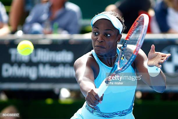 Sloane Stephens of the USA plays a backhand in her singles final match against Julia Joerges of Germany during day six of the 2016 ASB Classic at the...