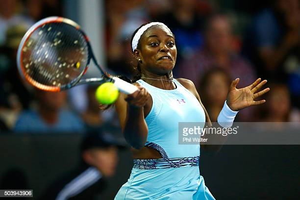 Sloane Stephens of the USA plays a forehand against Caroline Wozniacki of Denmark in their singles semifina match during day five of the 2016 ASB...