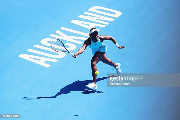 Sloane Stephens of the USA plays a forehand during her singles final match against Julia Joerges of Germany during day six of the 2016 ASB Classic at...