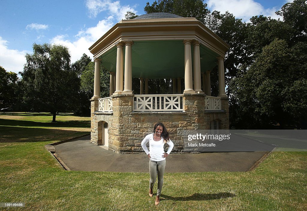 Sloane Stephens of the USA poses on a visit to St. David's Park during day six of the Hobart International at Domain Tennis Centre on January 9, 2013 in Hobart, Australia.