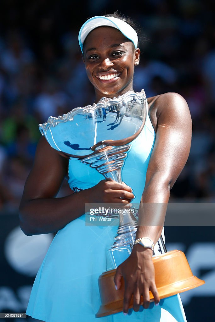 Sloane Stephens of the USA poses with the trophy after winning her singles final match against Julia Joerges of Germany during day six of the 2016 ASB Classic at the ASB Tennis Arena on January 9, 2016 in Auckland, New Zealand.