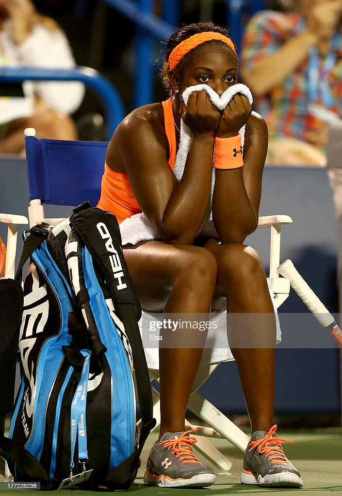 <a gi-track='captionPersonalityLinkClicked' href=/galleries/search?phrase=Sloane+Stephens&family=editorial&specificpeople=5510187 ng-click='$event.stopPropagation()'>Sloane Stephens</a> of the USA reacts after she lost the fifth game in the second set against Caroline Wozniacki of Denmark during Day Five of the New Haven Open at Yale at the Connecticut Tennis Center on August 22, 2013 in New Haven, Connecticut.