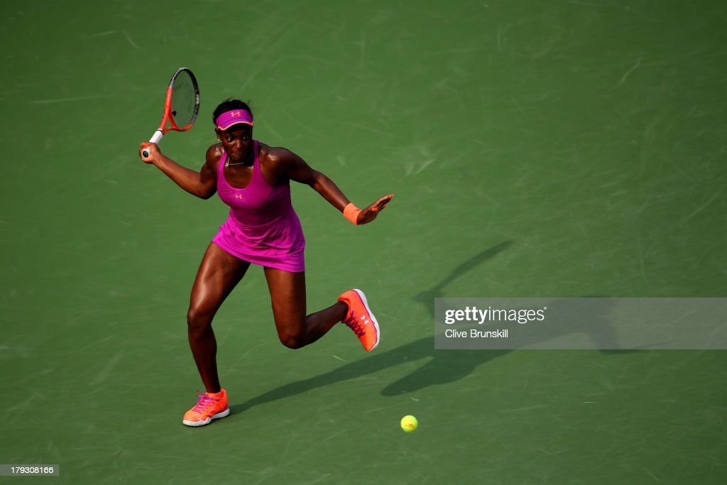 Sloane Stephens of United States returns a shot during her women's singles fourth round match against Serena Williams of the United States on Day Seven of the 2013 US Open at USTA Billie Jean King National Tennis Center on September 1, 2013 in the Flushing neighborhood of the Queens borough of New York City.