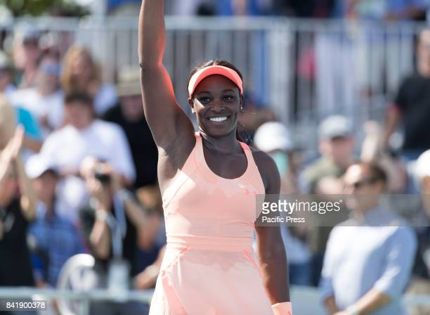 Sloane Stephens of USA celebrates victory against Ashleigh Barty of Australia at US Open Championships at Billie Jean King National Tennis Center...