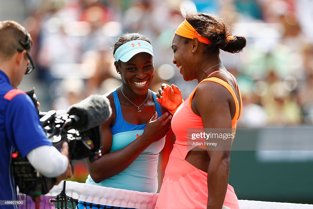 Sloane Stephens of USA congratulates Serena Williams of USA during day nine of the BNP Paribas Open tennis at the Indian Wells Tennis Garden on March...