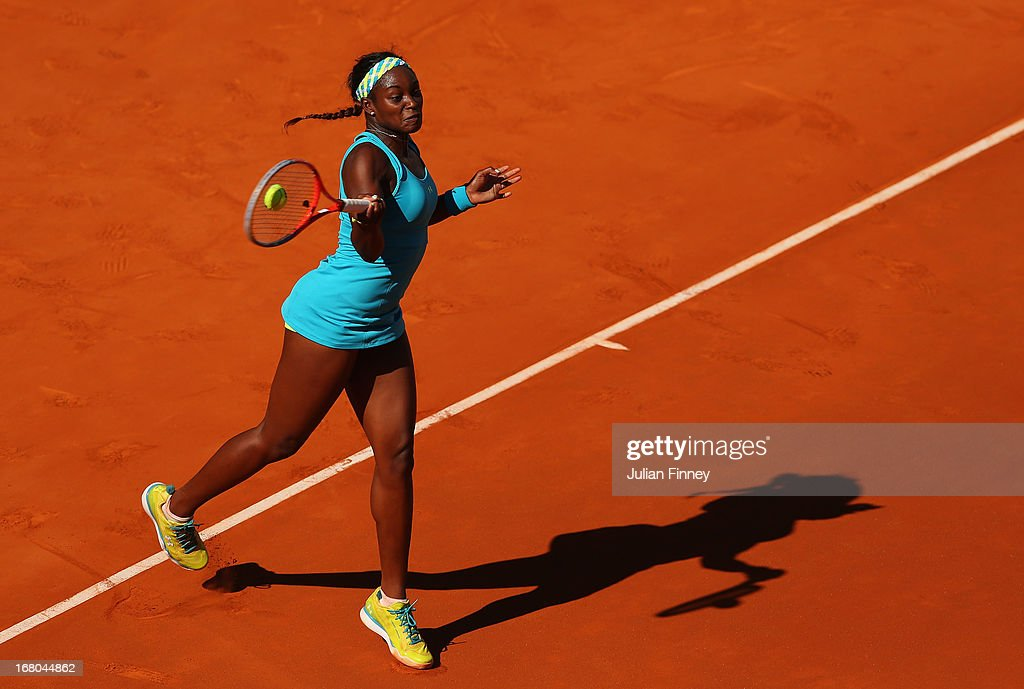 <a gi-track='captionPersonalityLinkClicked' href=/galleries/search?phrase=Sloane+Stephens&family=editorial&specificpeople=5510187 ng-click='$event.stopPropagation()'>Sloane Stephens</a> of USA in action in her match against Daniela Hantuchova of Slovakia during the Mutua Madrid Open tennis tournament at the Caja Magica on May 4, 2013 in Madrid, Spain.