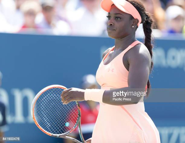 Sloane Stephens of USA reacts during match against Ashleigh Barty of Australia at US Open Championships at Billie Jean King National Tennis Center...