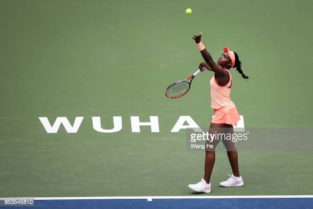 Sloane Stephens of USA serves against Qiang Wang of China Day 2 of 2017 Dongfeng Motor Wuhan Open at Optics Valley International Tennis Center on...