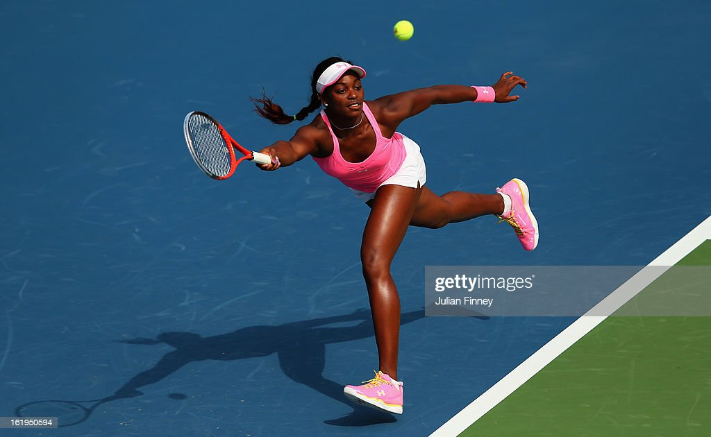<a gi-track='captionPersonalityLinkClicked' href=/galleries/search?phrase=Sloane+Stephens&family=editorial&specificpeople=5510187 ng-click='$event.stopPropagation()'>Sloane Stephens</a> of USA stretches for a forehand in her match against Sorana Cirstea of Romania during day one of the WTA Dubai Duty Free Tennis Championship on February 18, 2013 in Dubai, United Arab Emirates.