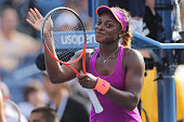 Sloane Stephens USA in action against Jamie Hampton USA during the Women's Singles competition at the US Open Flushing New York USA 30th August 2013...