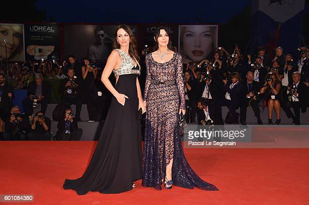 Sloboda Micalovic and Monica Bellucci attend the premiere of 'On The Milky Road' during the 73rd Venice Film Festival at Sala Grande on September 9...
