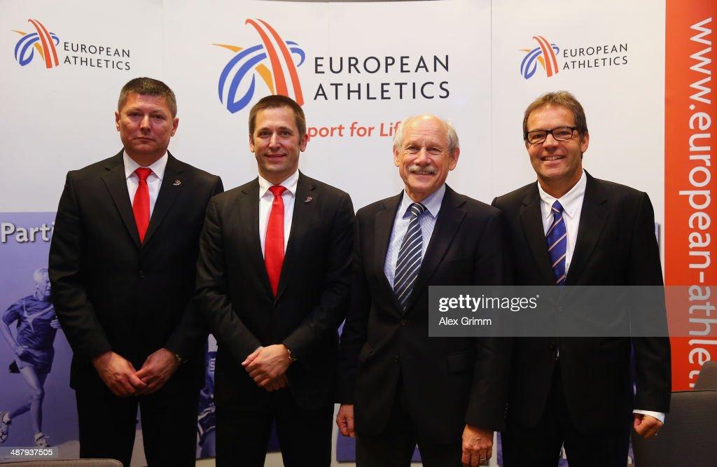 Slobodan Brankovic secretary general Athletics Federation of Serbia Veselin Jevrosimovic president of Athletics Federation of Serbia Hansjoerg Wirz...