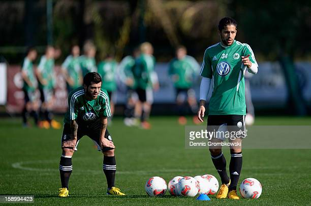 Slobodan Medojevic of Wolfsburg and teammate Ricardo Rodríguez look on during a training session at day two of their Training Camp on January 5 2013...