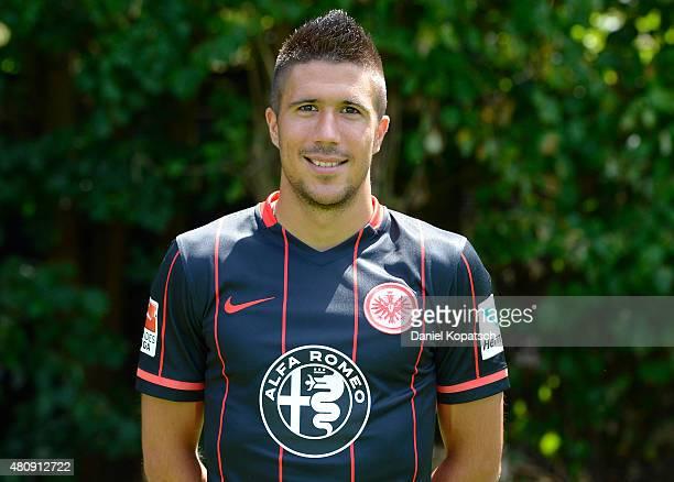 Slobodan Medojevic poses during the Eintracht Frankfurt team presentation on July 15 2015 in Frankfurt am Main Germany